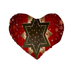 Star Wood Star Illuminated Standard 16  Premium Flano Heart Shape Cushions by Nexatart
