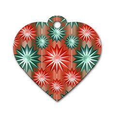 Stars Patterns Christmas Background Seamless Dog Tag Heart (two Sides) by Nexatart