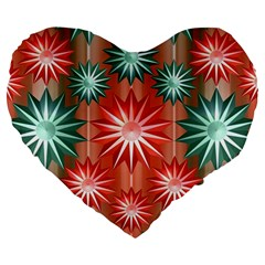 Stars Patterns Christmas Background Seamless Large 19  Premium Heart Shape Cushions by Nexatart