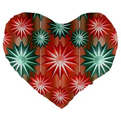 Stars Patterns Christmas Background Seamless Large 19  Premium Flano Heart Shape Cushions by Nexatart