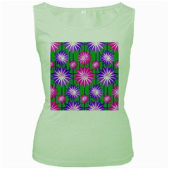 Stars Patterns Christmas Background Seamless Women s Green Tank Top
