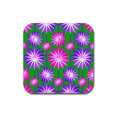 Stars Patterns Christmas Background Seamless Rubber Square Coaster (4 Pack)