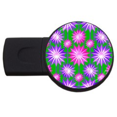 Stars Patterns Christmas Background Seamless Usb Flash Drive Round (2 Gb)
