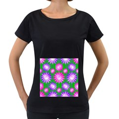 Stars Patterns Christmas Background Seamless Women s Loose-Fit T-Shirt (Black) by Nexatart