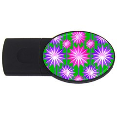 Stars Patterns Christmas Background Seamless Usb Flash Drive Oval (4 Gb) by Nexatart