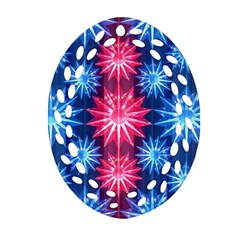 Stars Patterns Christmas Background Seamless Oval Filigree Ornament (two Sides)