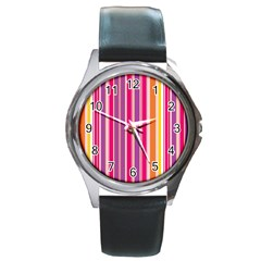 Stripes Colorful Background Pattern Round Metal Watch