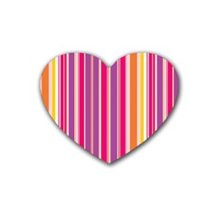 Stripes Colorful Background Pattern Rubber Coaster (heart)
