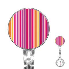 Stripes Colorful Background Pattern Stainless Steel Nurses Watch