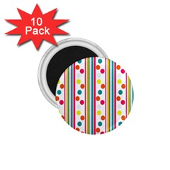 Stripes Polka Dots Pattern 1 75  Magnets (10 Pack)