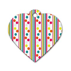 Stripes Polka Dots Pattern Dog Tag Heart (two Sides)