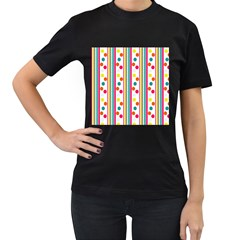 Stripes Polka Dots Pattern Women s T Shirt (black)