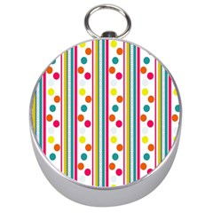 Stripes Polka Dots Pattern Silver Compasses