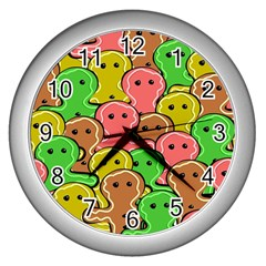 Sweet Dessert Food Gingerbread Men Wall Clocks (silver)  by Nexatart