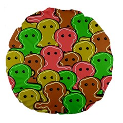 Sweet Dessert Food Gingerbread Men Large 18  Premium Round Cushions by Nexatart