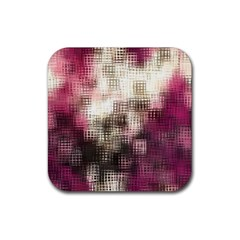 Stylized Rose Pattern Paper, Cream And Black Rubber Square Coaster (4 Pack)  by Nexatart