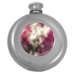 Stylized Rose Pattern Paper, Cream And Black Round Hip Flask (5 Oz)