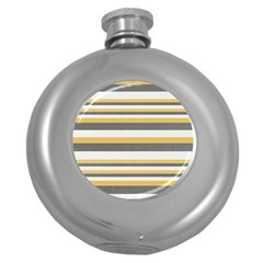 Textile Design Knit Tan White Round Hip Flask (5 Oz)