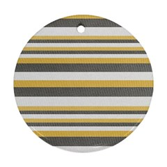 Textile Design Knit Tan White Round Ornament (two Sides)