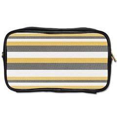 Textile Design Knit Tan White Toiletries Bags 2 Side