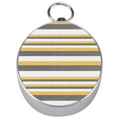 Textile Design Knit Tan White Silver Compasses
