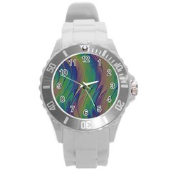 Texture Abstract Background Round Plastic Sport Watch (l)