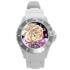 Texture Flower Pattern Fabric Design Round Plastic Sport Watch (l)
