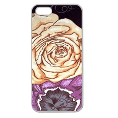 Texture Flower Pattern Fabric Design Apple Seamless Iphone 5 Case (clear)
