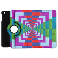 Texture Fabric Textile Jute Maze Apple Ipad Mini Flip 360 Case