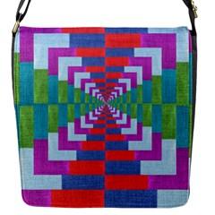 Texture Fabric Textile Jute Maze Flap Messenger Bag (s)