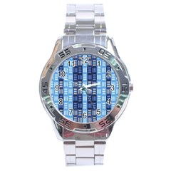 Textile Structure Texture Grid Stainless Steel Analogue Watch by Nexatart
