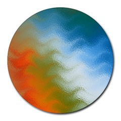 Texture Glass Colors Rainbow Round Mousepads