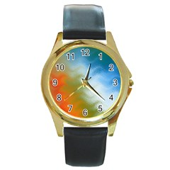 Texture Glass Colors Rainbow Round Gold Metal Watch