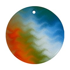 Texture Glass Colors Rainbow Round Ornament (two Sides)
