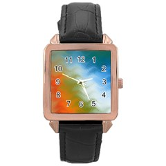 Texture Glass Colors Rainbow Rose Gold Leather Watch