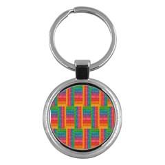 Texture Surface Rainbow Festive Key Chains (round)  by Nexatart