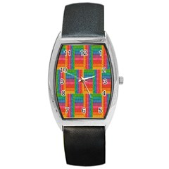 Texture Surface Rainbow Festive Barrel Style Metal Watch