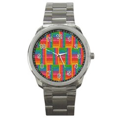 Texture Surface Rainbow Festive Sport Metal Watch