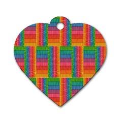 Texture Surface Rainbow Festive Dog Tag Heart (one Side) by Nexatart