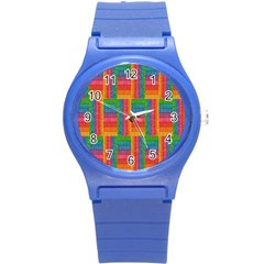 Texture Surface Rainbow Festive Round Plastic Sport Watch (s)