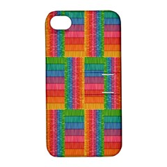 Texture Surface Rainbow Festive Apple Iphone 4/4s Hardshell Case With Stand