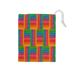 Texture Surface Rainbow Festive Drawstring Pouches (medium)  by Nexatart