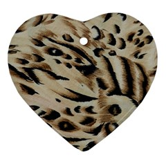 Tiger Animal Fabric Patterns Heart Ornament (two Sides)