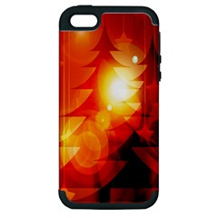 Tree Trees Silhouettes Silhouette Apple Iphone 5 Hardshell Case (pc+silicone)