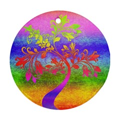 Tree Colorful Mystical Autumn Ornament (round) by Nexatart