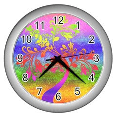 Tree Colorful Mystical Autumn Wall Clocks (silver)