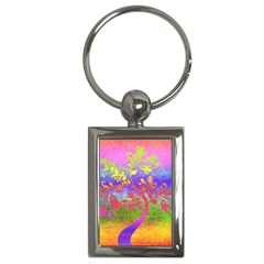 Tree Colorful Mystical Autumn Key Chains (rectangle)  by Nexatart