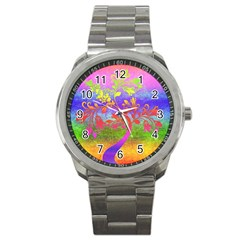 Tree Colorful Mystical Autumn Sport Metal Watch by Nexatart