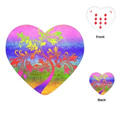 Tree Colorful Mystical Autumn Playing Cards (heart)  by Nexatart