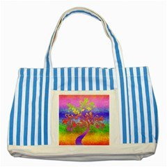 Tree Colorful Mystical Autumn Striped Blue Tote Bag by Nexatart
